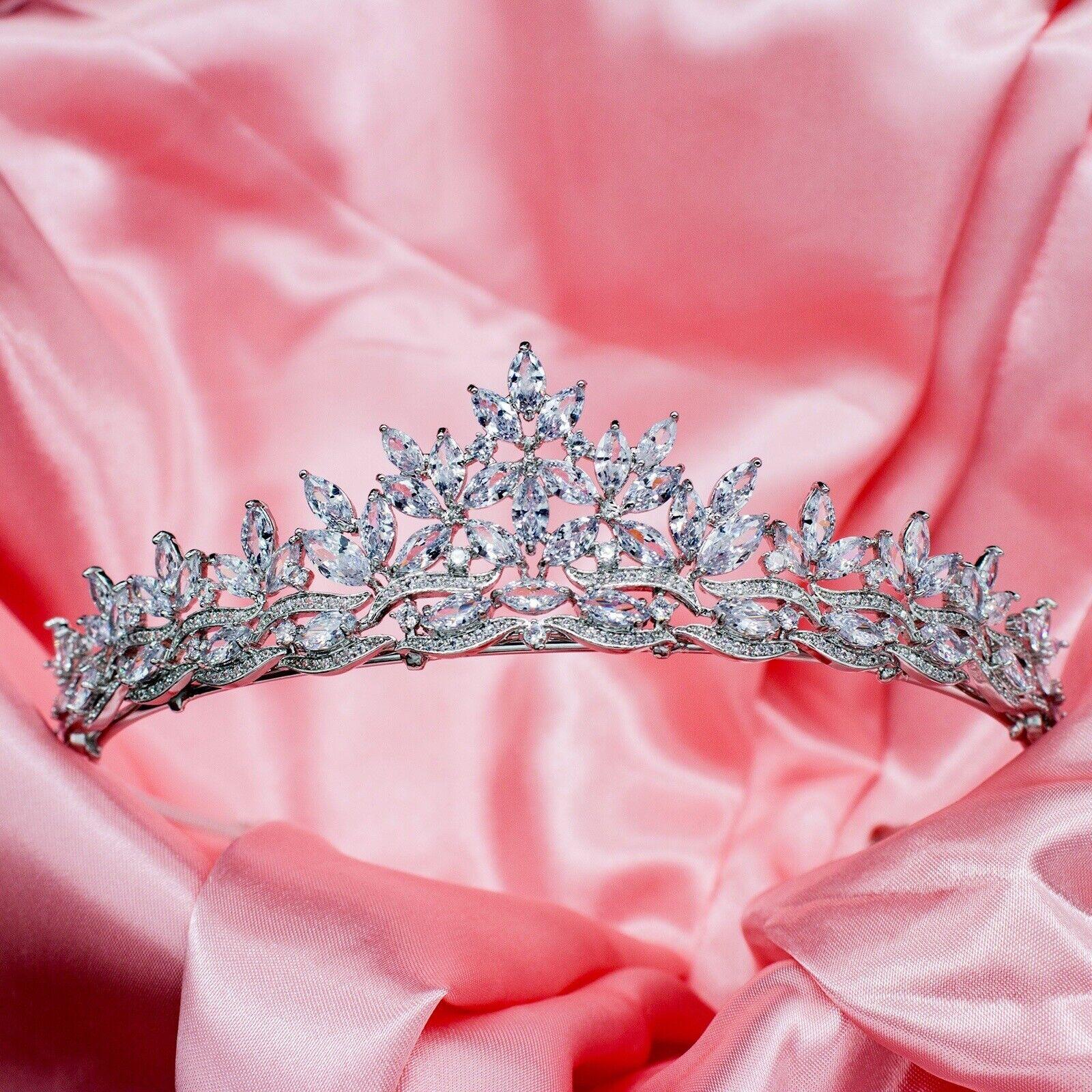 Tiara Set With AAA Cubic Zircnonias crown design Rhodium Plated