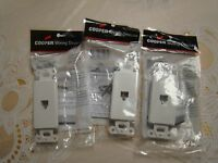 Cooper Electric White Phone Jack Telephone Wall Plate 3 Pic's