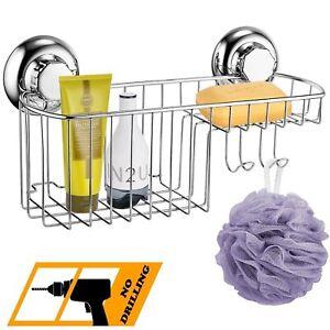 Bathroom Shower Rack Shelf Basket Stainless Steel Shower Caddy/Organise<wbr/>r suction