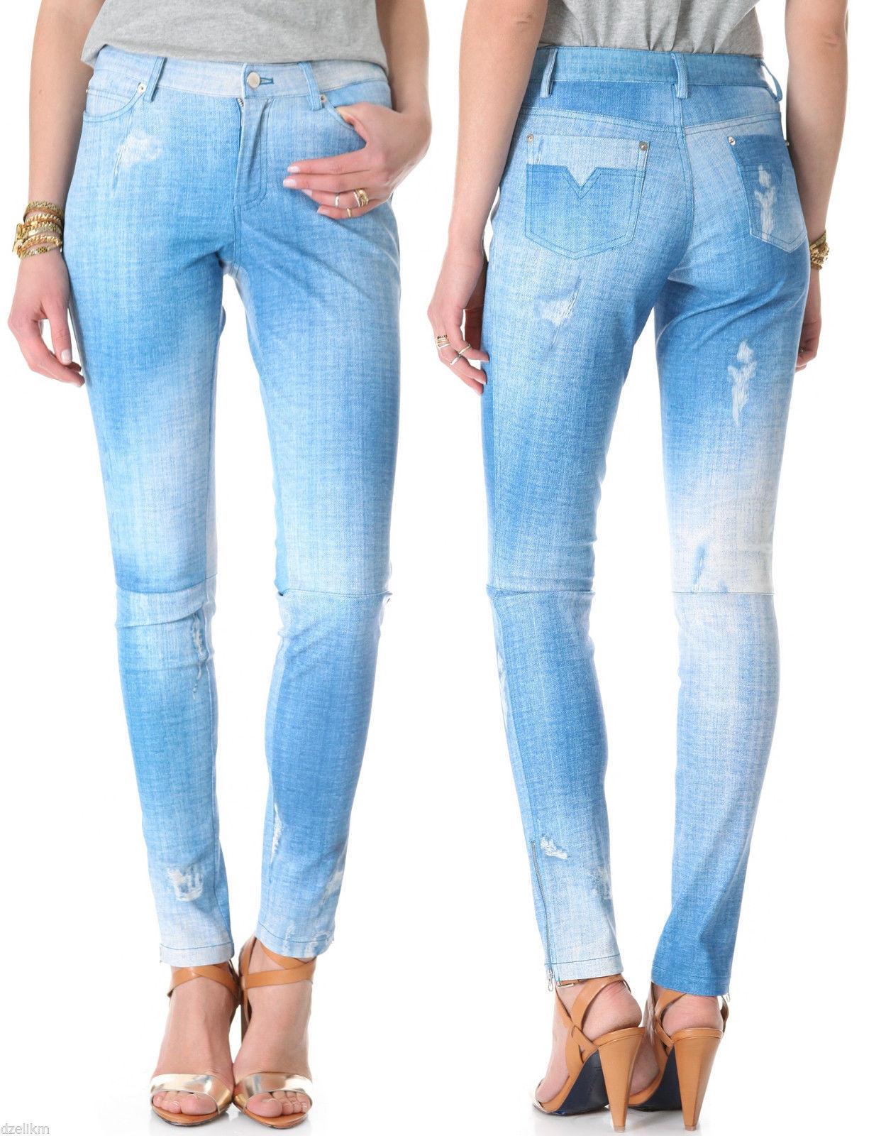 NEW  998 Rebecca Minkoff Blau Collette Denim Indigo Print Leather Skinny Pants 0