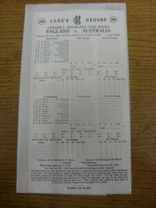 22-06-1989-Cricket-Scorecard-England-v-Australia-At-Lords-5-Day-Match-unused