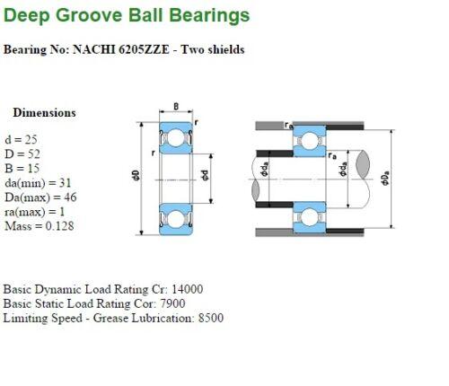 DRYER//WASHER//MOTOR//SHAFT//POST NACHI ZZ 2 SHIELD TYPE DEEP GROOVE BALL BEARING