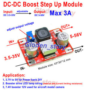 5A DC-DC Boost Step up 3v~35v to 5~40v 5v 6v 9v 12v 24v 36v Adjustable Converter