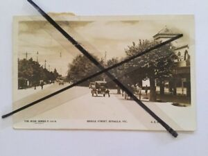 Antique-vintage-old-photo-postcard-Bridge-St-Benalla-Vic-Australian-Stamps