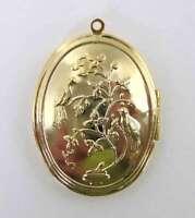 Vintage Locket Gold Plate Bird Flower Brass Setting Oval 40x30mm