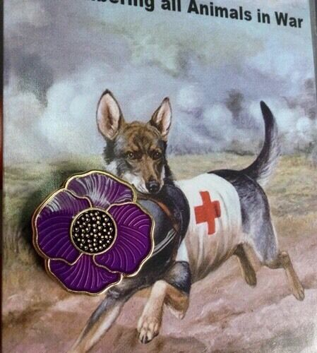 The Purple Poppy Lapel Pin* Remembering Our Animals On  *Remembrance Day. NEW