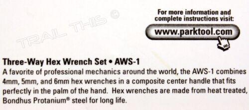 Park Tool AWS-1 Y Three 3-Way Hex Wrench 4mm 5mm 6mm Bike Repair Metric