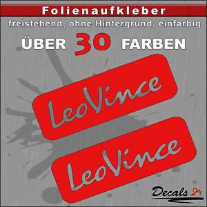 2er-SET-LEO-VINCE-Sponsoren-Folienaufkleber-Auto-Motorrad-30-Farben-12cm