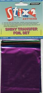 10-SHEETS-TRANSFER-FOILS-ASSORTED-COLOURS-SHINY-GREEN-ORANGE-PURPLE-BLUE-FUSCHIA