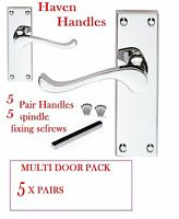 Multi 5 pack MODERN CHROME/SILVER Door Handles Scroll lever handles