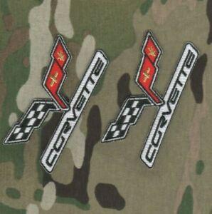 """Corvette C-6 Performance Pièces Brodé Checker Drapeau Logo Repasser 3 """" 2-PATCH"""