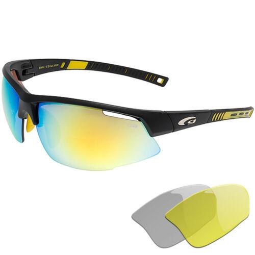 Goggle Radbrille gelb verspiegelte Scheiben Lauf und Radsport Sportbrille