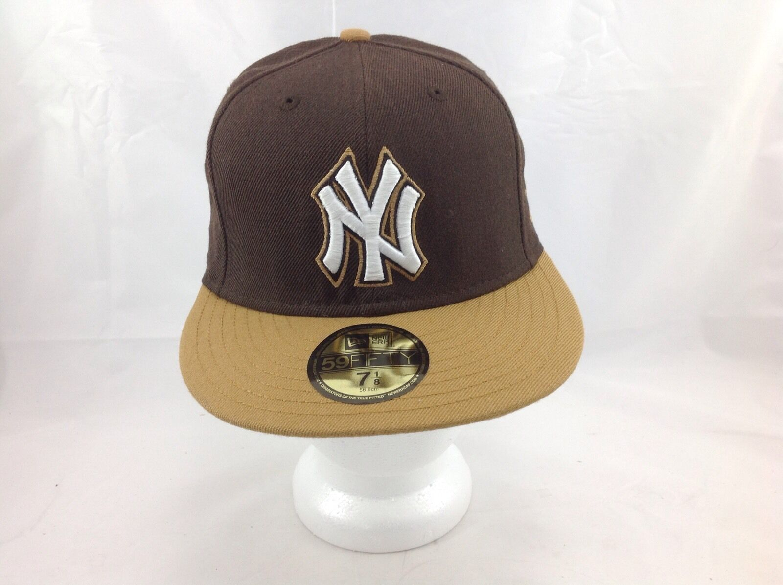 New Era 59Fifty NY New York Yankees MLB Fitted Cap 1/8 hat Brown Tan 7 1/8 Cap 3f5494
