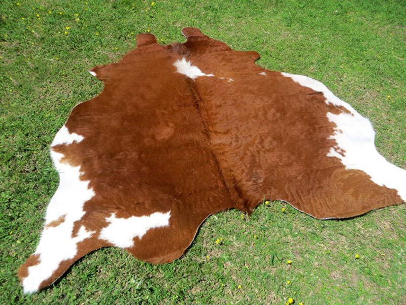 BIG   NEW HEREFORD braun Cowhide Rug natural Cowhides Cow Hide Skin 6X6 FEET WHR