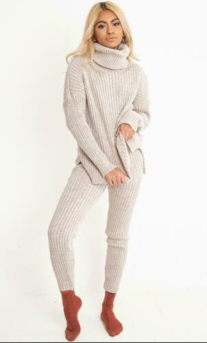 Womens High Roll Neck Chunky Knitted Top Bottom Ribbed Lounge Suit Tracksuit Set
