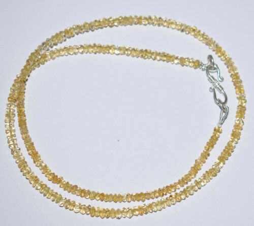 "Argent Sterling 925 Saphir de couleur citrine 18/"" Strand Collier 3.5 mm perles UH14"
