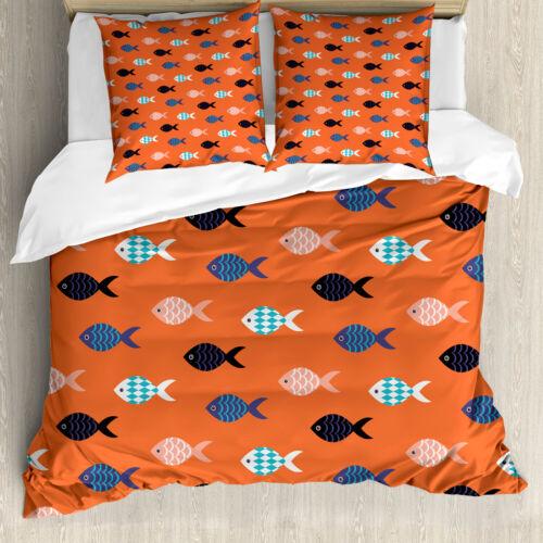 Orange Bettwäsche Set Bunter Fisch ShoalWeicher Microfaserstoff