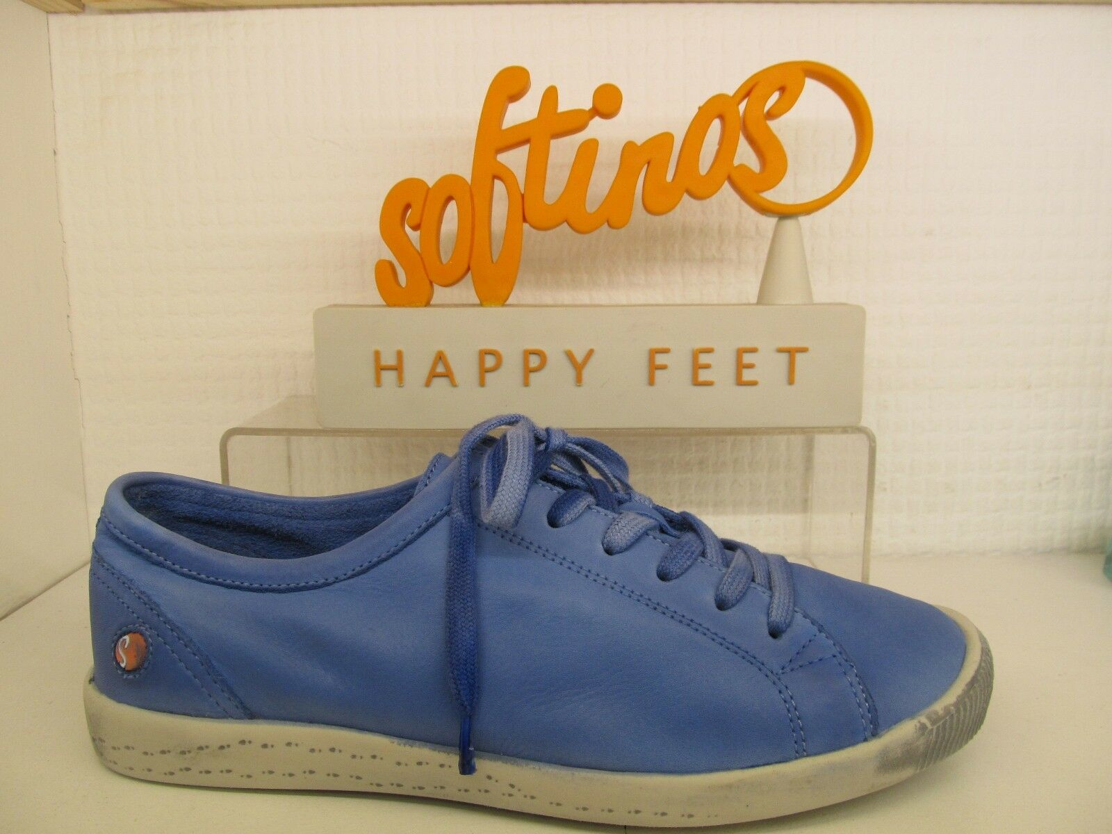 Softinos Happy Feet Isla Morbido Lavato Lavender Blue Pelle Stringati Pompa Scarpa