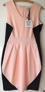 WOLF-amp-WHISTLE-PEACH-amp-BLACK-PANELLED-TAILORED-DRESS-Size-12