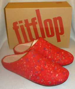 76744fef9730 Fitflop Chrissie Speckle Fire Red Wool Slip On Mule Ladies Clog ...