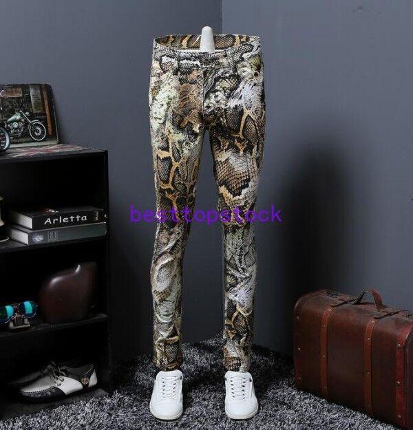 Men's Printing Casual Snake Skin Jeans Stright Pants Europe Slim Fit Clubwear sz