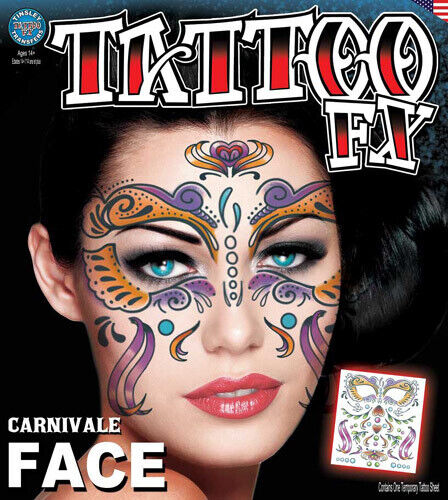 Carnivale DOD Full Face Temporary Tattoo Tinsley Halloween Special FX Make up