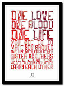 Details about U2 - one - song lyric poster typography art print - 4 sizes
