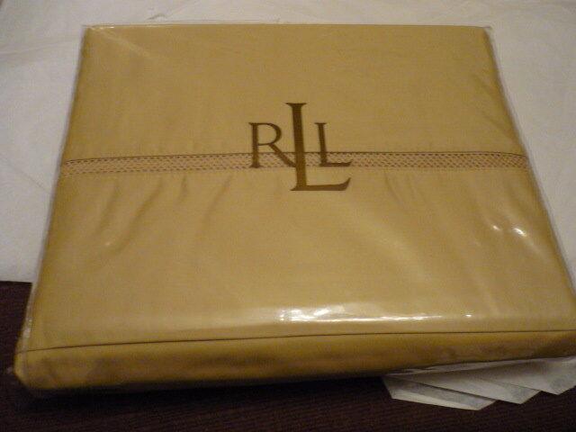 RALPH LAUREN Regent Sateen Almond FULL flat sheet NIP