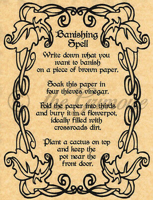 Banishing Spell, Book of Shadows Spell Page, Wicca, Witchcraft, Pagan,  Occult | eBay
