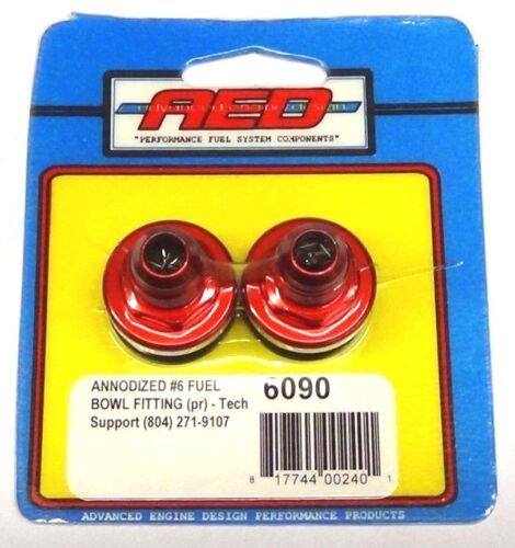 AED 6090 Anodized Fuel Bowl Fittings Aluminum RED Carburetor Inlet