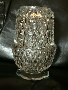 Indiana-Glass-Fairy-Lamp-Diamond-Point-Clear-Angel-Light-Vintage-Candle-Holder
