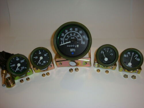 12V Willys Jeep M38 1952 Gauges Kit with Speedometer Olive Green Bezel