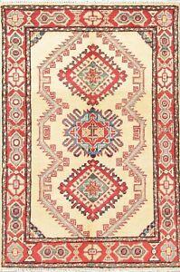 NEW-3-039-x-4-039-IVORY-Kazak-Pakistan-Oriental-Geometric-Hand-Knotted-Wool-Rug-Carpet