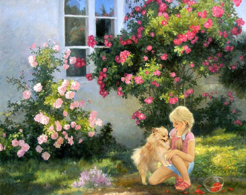 Girl and dog playmate Oil Painting HD Giclee Art Printed on canvas L2234