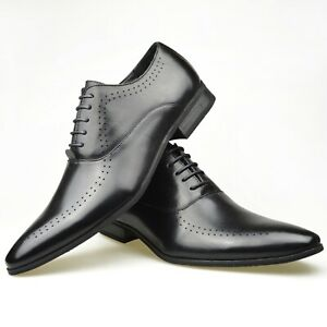 Mens Casual Wedding Brown Faux Leather Boys School Smart Formal Party Shoes
