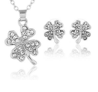 Jewelry & Watches Candid Lucky Four Leaf Clover Necklace Earrings Set Rhinestone Jewellery Women Gift Bracing Up The Whole System And Strengthening It Fashion Jewelry