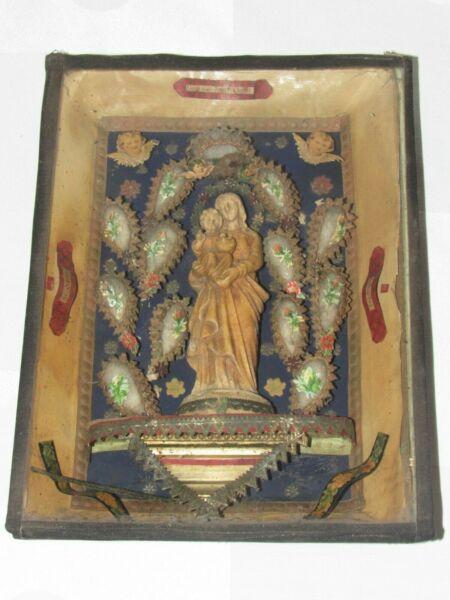 06f46 Antico Cornice Ex Voto Diorama Religioso Napoleone Iii Vergine A Bambino Una Gamma Completa Di Specifiche