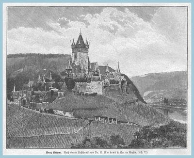 """Angemessen """"burg Cochem-kochem"""" Schöne Ansicht Alte Berufe Original Holzstich Erschienen 1896"""