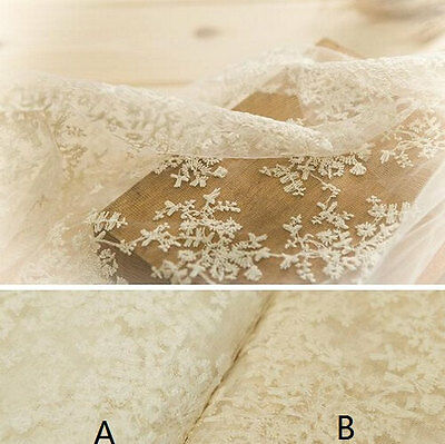 Sample Ivory Lace Fabric Floral Cotton Embroidered