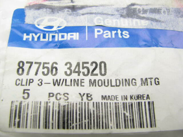 Hyundai Part No. 87718-39500 CLIP-W//LINE MOULDING PACKAGE OF 5 CLIPS