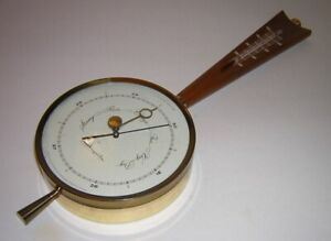 Vintage 1950s Airguide Teak & Brass Barometer Thermometer Weather Stn Wall Mount