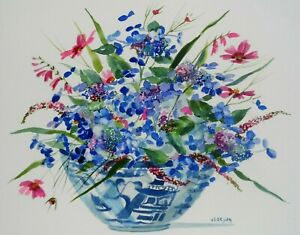 J-LARSON-SIGNED-ORIGINAL-WATERCOLOR-PAINTING-OF-STILL-LIFE-FLOWERS-AND-VASE