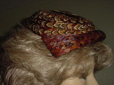 Two Vintage 1950s Pheasant  Feather  Fasinator Hats  w/ Orig Unloosened Netting
