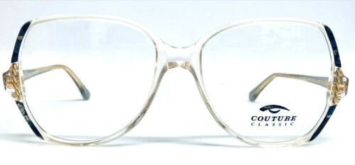 Genuine Vintage Round Oversized Couture Classic Glasses Frames Grey// Glitter
