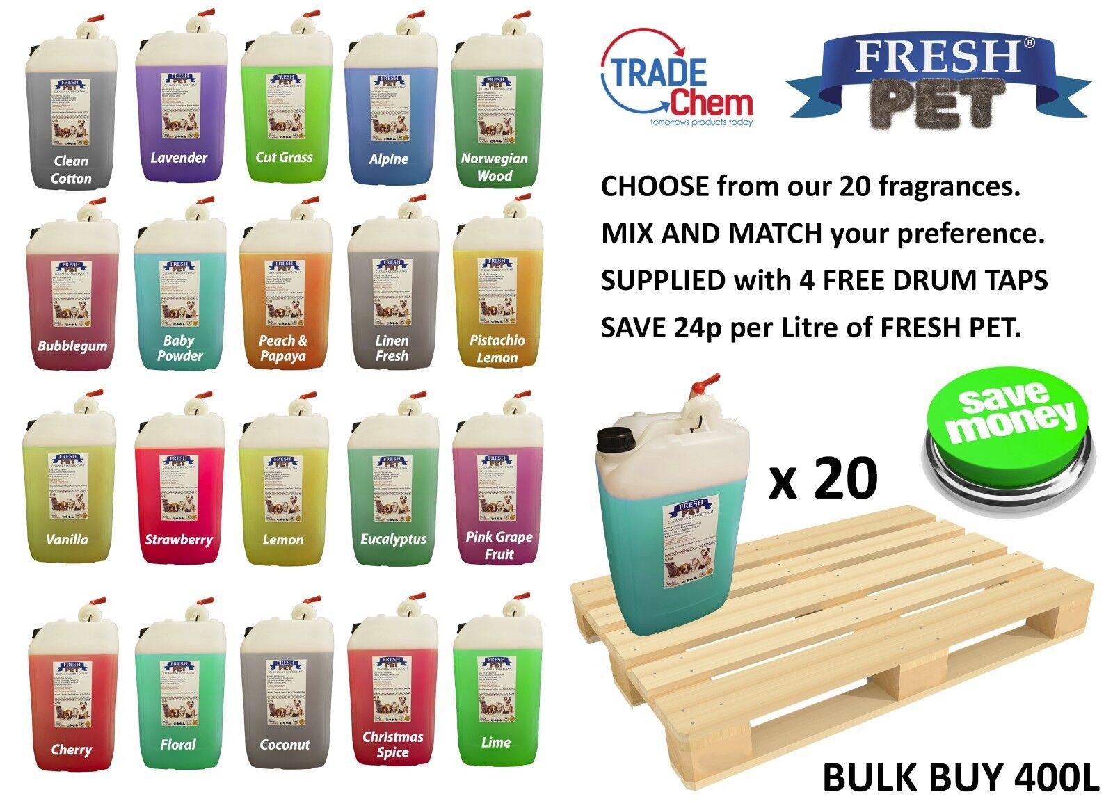 20 x 20L FRESH PET Kennel Disinfectant, Cleaner, Deodoriser - MIX & MATCH