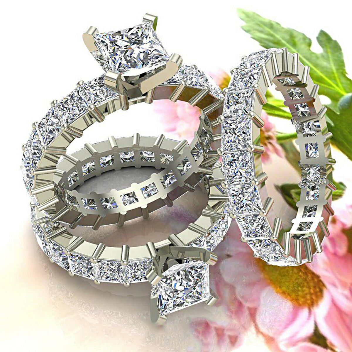 5.50 ct Princess Cut Diamond 10k White gold Bridal Engagement Ring for Women's