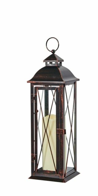 Smart Design STI84035LC Aversa Metal Lantern with LED Candle with Set Timer at