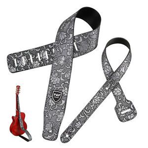 Soft-Embossed-Western-Flower-Artificial-Leather-Guitar-Strap-Gray
