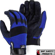 Mechanics Work Gloves Majestic Armorskin Synthetic Leather Blue Sz Large 2137bl