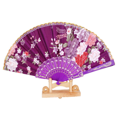 Plastic Spanish Hand Fan Lace Flower Fabric Folding Party Wedding PromPurple
